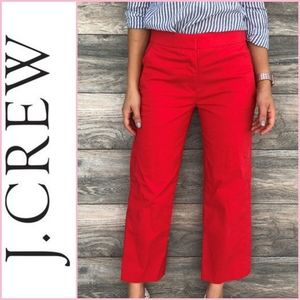 J. Crew Red Wide Leg Chino Crop Pants